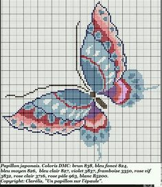 Embroidery Patterns Butterfly Color Charts 63 Ideas For 2019 Cross Stitching, Cross Stitch Embroidery, Embroidery Patterns, Cross Stitch Boards, Cross Stitch Needles, Cross Stitch Designs, Cross Stitch Patterns, Butterfly Cross Stitch, Butterfly Pattern