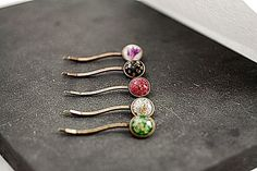 REAL FLOWER bobby pins - two unique bronze hairpins of your choice! Nature jewelry for her. Kat