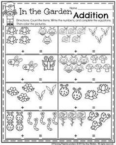 Spring Kindergarten Math Worksheets - In the Garden Addition.