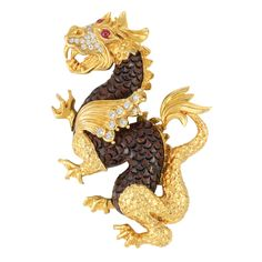 Gold, Carved Wood, Diamond and Ruby Dragon Clip-Brooch, Van Cleef & Arpels