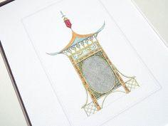 Pagoda Style Chinoiserie Garden Lantern Archival Quality Print