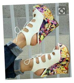 White Stylish 6 inches Lace Up Wedges Hot Shoes, Crazy Shoes, Wedge Shoes, Me Too Shoes, Shoes Heels, Pumps, Lace Up Wedges, Cute Heels, Luxury Shoes