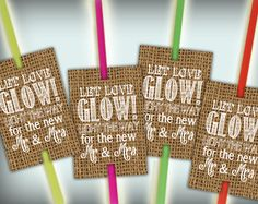 Glow Stick Tags Burlap Printable Glow Stick Send Off Tags PDF DIY Instant Download Let Love Glow Rustic Shabby Chic Woodland by justforkeeps on Etsy https://www.etsy.com/listing/245085694/glow-stick-tags-burlap-printable-glow