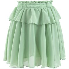 Chicwish Peplum Chiffon Skirt in Green (495 ARS) ❤ liked on Polyvore featuring skirts, bottoms, green, green peplum skirt, peplum skirt, crochet skirt, chiffon skirt and green skirt