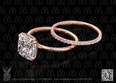 Rose gold cushion diamond solitaire engagement ring by Leon Megé