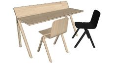 3D Model of HAY Copenhague plywood desk and chair