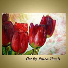 Original oil painting Burgundy Flowers Red Flower Tulips Impasto Fine Art by Luiza Vizoli Burgundy Flowers, Burgundy Color, Red Tulips, Modern Art For Sale, Rock Flowers, Abstract Art For Sale, Floral Artwork, Oil Painting On Canvas, Acrylic Paintings