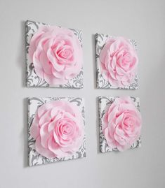 Hanging Flower Wall, Paper Flower Wall, Flower Wall Decor, Floral Wall Art, Flower Decorations, Light Pink Walls, Light Pink Rose, Pink Rose Flower, Pink Roses