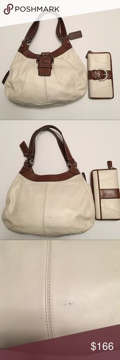 "Coach White/Brown Soho Leather Lynn Hobo Soho Pleated Leather Lynn Hobo Style: F15527 Color : Silver/White/Bark Deminsions: 13"" Lx 9"" H x 4.5"" D with 9"" drop, magnetic snap front closure w/decorative buckle for first compartment, center compartment zips closed, back compartment has a magnetic snap closure and an inside zip pocket, lined with lovely pink, silver tone hardware, leather logo key hang tag. Good overall used condition other than pictured ink marks in front Small blemish on back…"