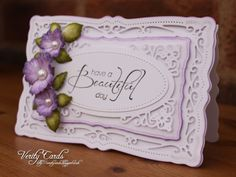 Card made using Spellbinders Radiant Rectangles and Heartfelt Creations Majestic Morning Flowers and sentiment.