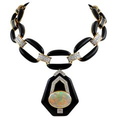 DAVID WEBB Diamond Opal Black Enamel Necklace