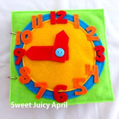 Clock Quiet Book Page by SweetJuicyApril on Etsy