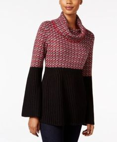 Style & Co Petite Colorblocked Cowl-Neck Sweater, Only at Macy's - Red P/L