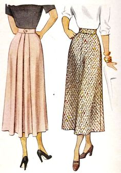"1940s Misses Skirt Vintage Sewing Pattern, McCall 7522 Waist 26"", Hips 35"""