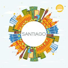 Santiago Chile Skyline with Color Buildings Santiago Chile Skyline with Color Buildings, Blue Sky and Copy Space. Vector Ill #Chile, #Santiago, #Skyline, #Buildings