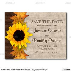 Rustic Fall Sunflower Wedding Save The Date Postcard
