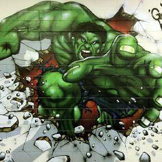 Finished Incredible Hulk Graffiti Art by Graffiti Kings Artist, go to www.graffitikings.co.uk for more Street Art, Stencil Art & Graffiti Art.