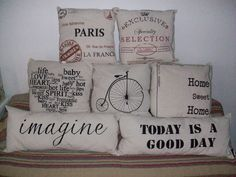 I really love the bicycle one! Felt Pillow, Sewing Circles, Stencil Templates, Stencils, Decoupage Vintage, Vintage Room, How To Make Pillows, Decorative Cushions, Fabric Painting