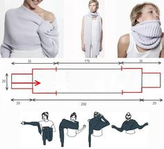 Knit product is quite simple - as a scarf, the ends of which - the sleeves.  Tying - gum - English or lush and ends - a simple rubber hoses 1x1. (Site in Russian will need to translate)