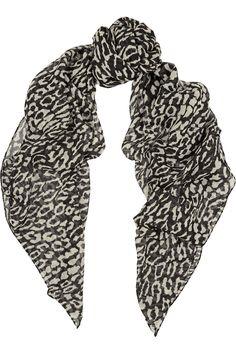 Saint Laurent|Leopard-print wool scarf|NET-A-PORTER.COM