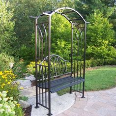 A beautiful twist and two classic pieces of garden furniture, the Oakland Living Royal Arbor with Bench combines the beauty of a garden bench with. Metal Arbor, Wood Arbor, Metal Pergola, Black Pergola, Pallet Pergola, White Gazebo, Iron Pergola, Curved Pergola, Pergola Roof