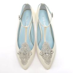 Something Blue Art Deco Wedding Shoes Annalise Comfortable And Silk Satin