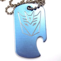 "Decepticon Baby Blue Pendant With 30"" Chain Dog Tag Aluminum Bottle Opener EDG-0336"