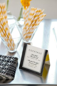 Jazz up the bar area...straws, napkins, cocktail menu. Love this sophisticated colour combo.
