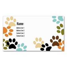 Dog Paw Prints Business Card created by Sideview. This design is available on several paper types and is totally customizable.