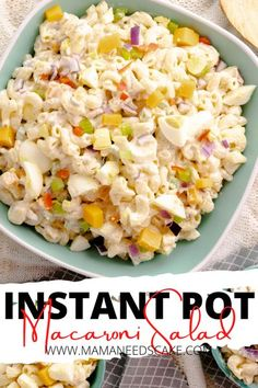 Macaroni salad made with chopped red onion, red pepper, and cubed sharp cheddar cheese. Dressing this macaroni salad is a Greek yogurt blend with sweet pickle relish, vinegar, and Dijon mustard. Perfect for gatherings and tastes delicious whether warm or cold.  #macaronisalad #potluck #instantpotpasta #instantpot #pressurecooker #pastasalad #pasta #cookouts #southern #coldpasta Instant Pot Pressure Cooker, Pressure Cooker Recipes, Pressure Cooking, Chicken Zucchini Pasta, Southern Potato Salad, Still Tasty, Cold Pasta, Macaroni Salad, Pasta Salad