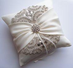 Anillo de bodas almohada cojín de boda con detalle de