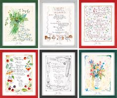 Set of Six Hand-Drawn Menus by Jacques Pepin Framed or Unframed