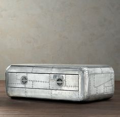 """From Restoration Hardware - Blackhawk Coffee Table (51"""") - Based on the aluminum panels from a vintage aircraft."""