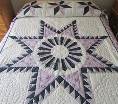 Amish Quilt, Appliqued Quilt, Floral Bouquet Quilt, Hand Made ... : queen size country quilts - Adamdwight.com