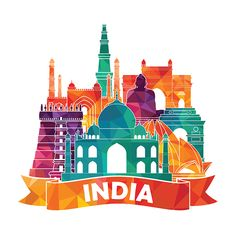 Find India Skyline Vector Illustration stock images in HD and millions of other royalty-free stock photos, illustrations and vectors in the Shutterstock collection. Creative Poster Design, Creative Posters, Creative Art, Incredible India Posters, Indian Illustration, Car Illustration, India Map, India India, India Painting