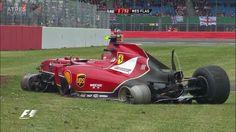 Remains of Raikkonen's Ferrari lap 1 accident at Aintee corner at the 2014 #F1 Grand Prix @ Silverstone