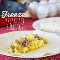 Freezer Breakfast Burritos or quick and easy microwave breakfast burritos #recipe #breakfast  skiptomylou.org