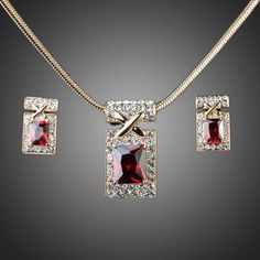 Cubic Zirconia Jewelry Gold Color Unique Design with Dark Red Cubic Zirconia Earrings and Necklace Jewelry Sets - Cute Jewelry, Jewelry Necklaces, Women Jewelry, Unique Jewelry, Red Jewelry, Luxury Jewelry, Bling Jewelry, Fashion Accessories, Fashion Jewelry