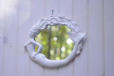 Beach Cottage Decor Cast Iron Round Mermaid Mirror  - PICK YOUR COLOR. $48.00, via Etsy.