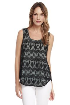 A contrast lining highlights the lovely geometric embroidery creating cool dimension for a sheer sleeveless blouse framed with solid side panels. Rent Clothes, Le Tote, Summertime Outfits, Geometric Embroidery, Side Panels, Embroidered Blouse, Solid Black, Sleeveless Blouse, Highlights