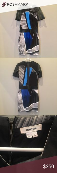 Helmut Lang Leather Accent Geometric Print Dress Edgy Helmut Lang dress in abstract geometric print. Features two front pockets, rich lamb leather sleeves,  waist band, and zipper edging. Back zip closure, fully lined, slight gather at neckline. Knee length with sheath style fit. In excellent condition, no signs of wear. Helmut Lang Dresses