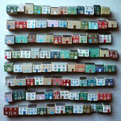 Tiny Houses by Valériane LEBLOND: Acrylic inks on wood – Inciau acrilig ar bren – Encre acrylique sur bois Clay Houses, Ceramic Houses, Miniature Houses, Wooden Houses, Doll Houses, Painted Houses, Art Houses, Ideias Diy, Collaborative Art
