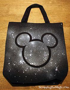DIY Mickey Mouse Tote Bag Enoch would love this! I'm thinking sewing on a Mickey shape, instead. Disney Diy, Disney Crafts, Disney Magic, Disney Ideas, Disneyland Trip, Disney Trips, Disney Cruise, Disney Vacations, Walt Disney