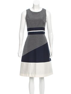 Grey, blue and white Jonathan Simkhai sleeveless midi dress with contrasting panels throughout and concelaed zip closure at back.