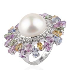 Mirari white gold ring with multi-coloured sapphires and white diamonds surrounding a freshwater pearl. Chopard