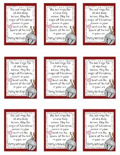 Super adorable Polar Express Poem {To Give With Bells}
