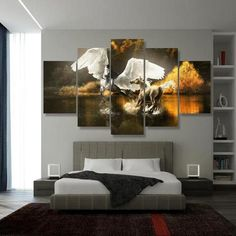 >> Click to Buy << 5 Panels HD Printed White Wing Horse Pegasus Wall Art  Painting Canvas Print Room decor print poster Picture Canvas P0440 #Affiliate