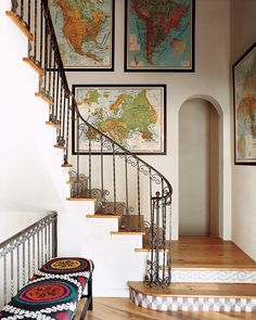 I love the framed maps. and the bench. and the kickplates on the stairs.and the staircase shape. Wall Decor, Decor, Framed Maps, Map Decor, Global Decor, Gallery, Inspiration, Home Decor, Stairs