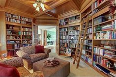 Beautiful Home Library with a rolling ladder.
