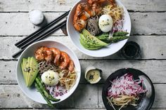 This noodle bowl is light and refreshing. You've got components that are steamed, marinated, fresh and sautéed, all on one plate.